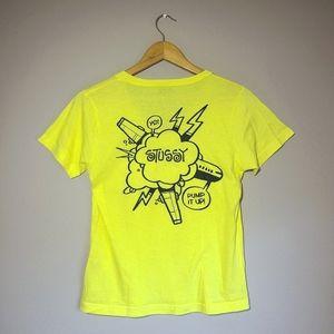 Stussy Yellow V-neck Shirt